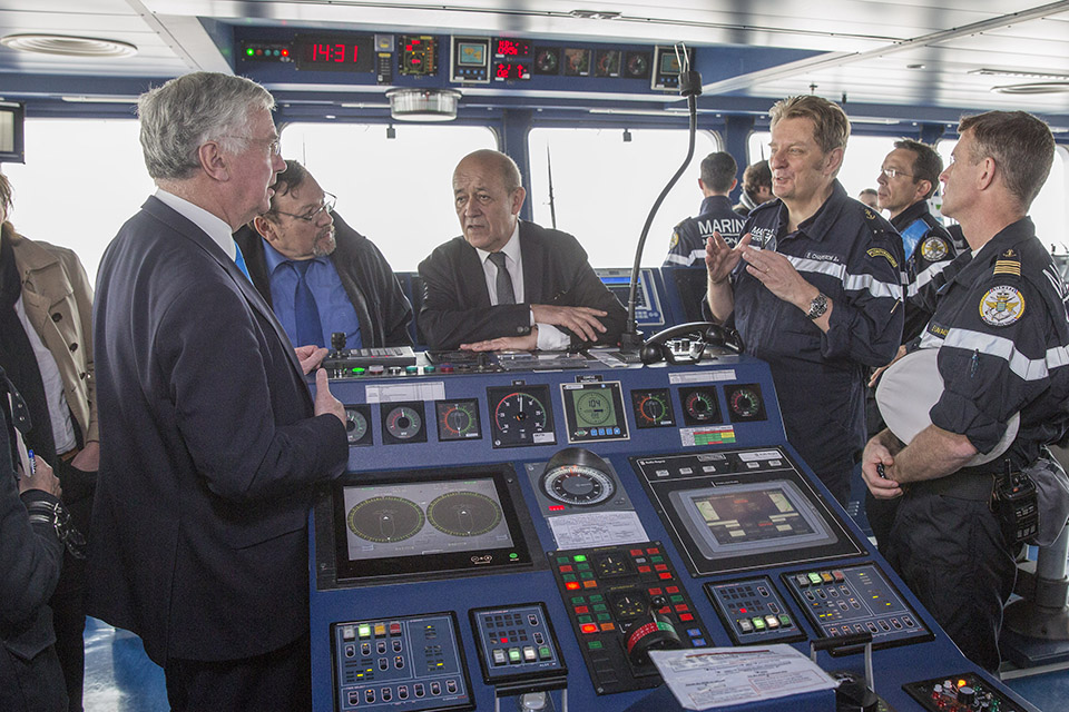Michael Fallon and Jean-Yves Le Drian on FS Dixmude. Crown Copyright.