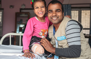 8-year-old Nirmala lost her leg in the earthquake which struck Nepal on 25 April 2015, but is now walking again thanks to support from Handicap International & UK aid. Picture: Lucas Veuve/Handicap International