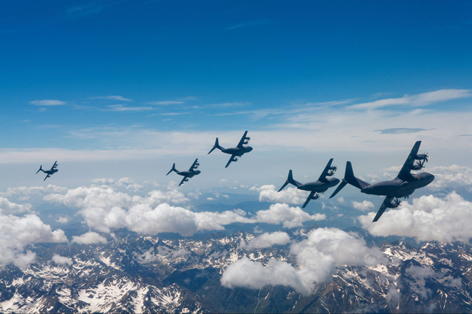 Five Airbus A400M test aircraft fly over Toulouse in south west France (stock image)
