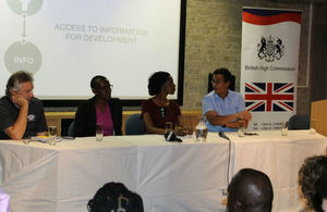 "Panelists at the ""Access to Information for Development"" film launch"
