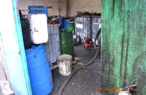 Michael Wright's waste oil storage unit
