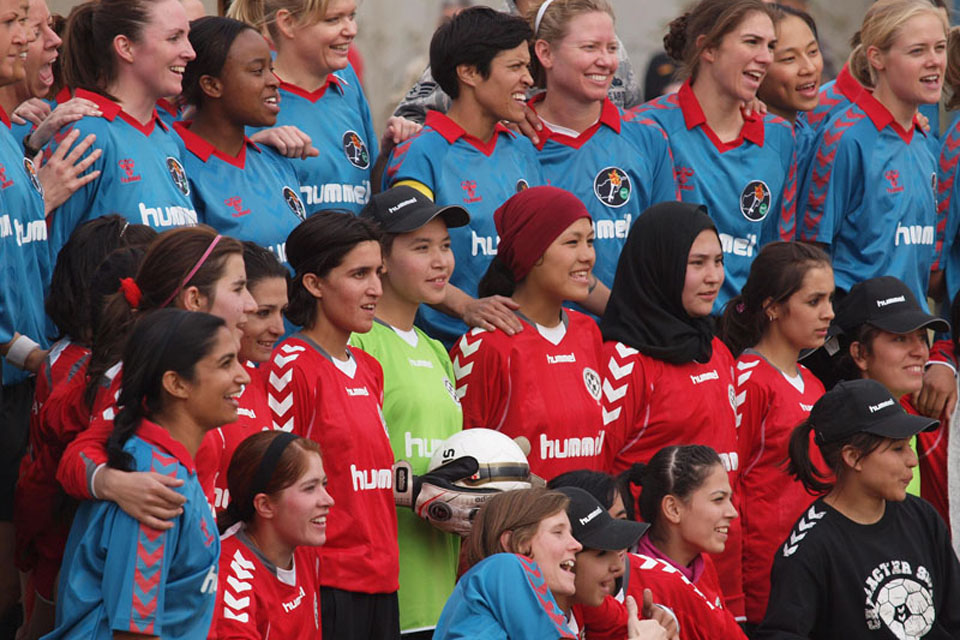 The Afghan and ISAF football teams