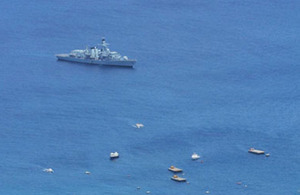 HMS Montrose at anchor off Georgetown, Ascension Island
