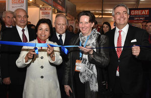 Chilean Mining Minister, Aurora Williams, Ambassador Fiona Clouder, and UKTI-Chile Director inaugurate the British Pavilion at Expomin 2016.