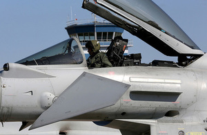 Typhoon aircraft arrive at Amari Air Base in Estonia prior to undertaking the Baltic Air Policing mission for NATO