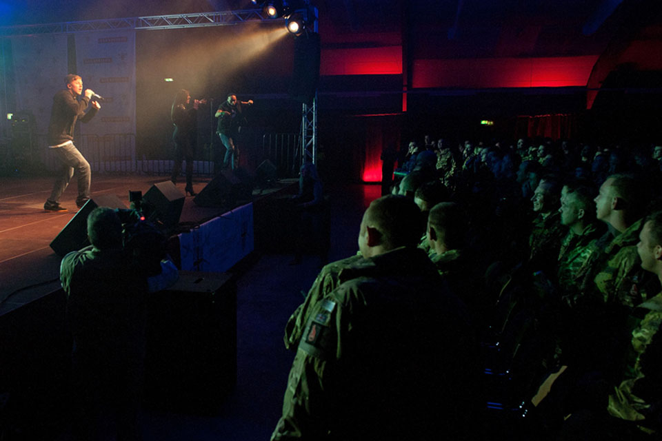 Professor Green performs for British servicemen and women in Fallingbostel, Germany