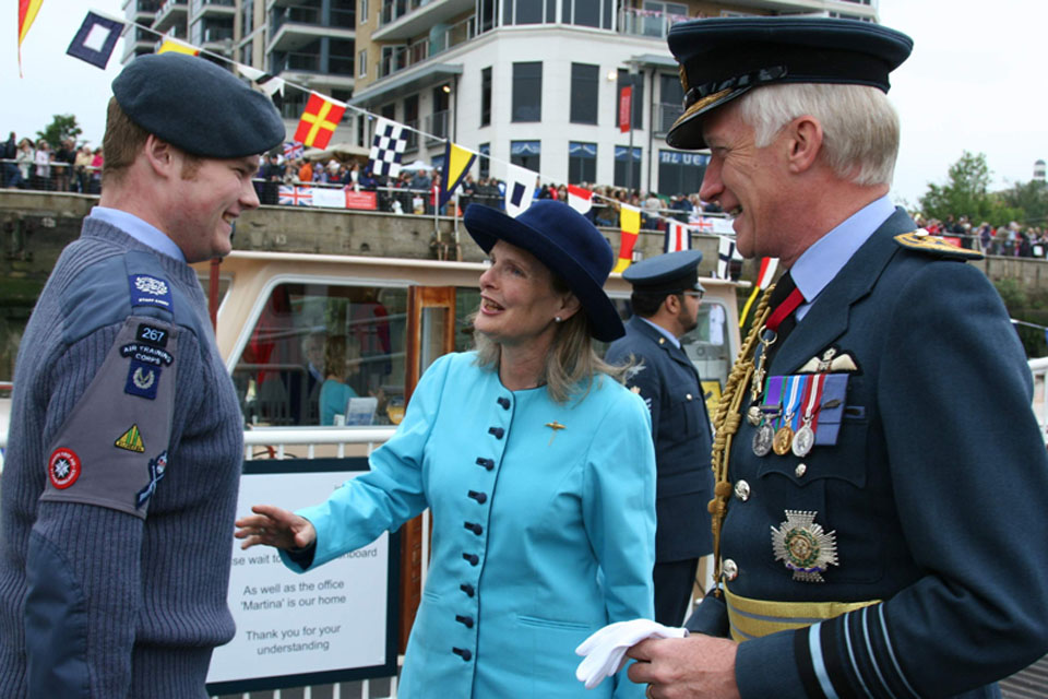 Twickenham Air Cadet Warrant Officer Tomkins, aged 18, greets Chief of the Air Staff Air Chief Marshal Sir Stephen Dalton and his wife