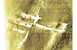 Wessex Archaeology's side scan image of the Dornier 17 discovered on the Goodwin Sands