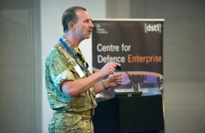 Military Adviser speaking at a CDE Innovation Network event.