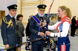 Gp Capt Luck (L) with HRH Prince Michael and Alison Williamson in the new sports hall