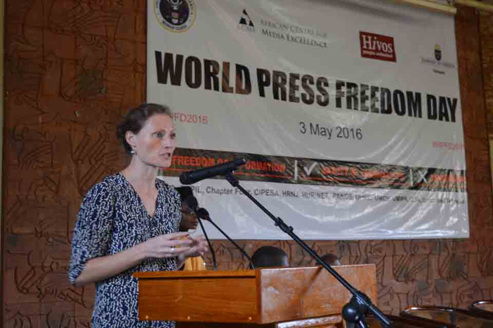 Deputy High Commissioner Mary Shockledge speaks at an event to mark World Press Freedom Day