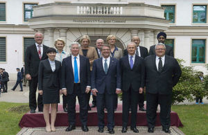 STUTTGART, Germany (May 4, 2016) Defence Secretary Michael Fallon with the Defence Ministers of the US, Australia, Canada, Denmark, France, Germany, Italy, the Netherlands, New Zealand, Norway and Spain.