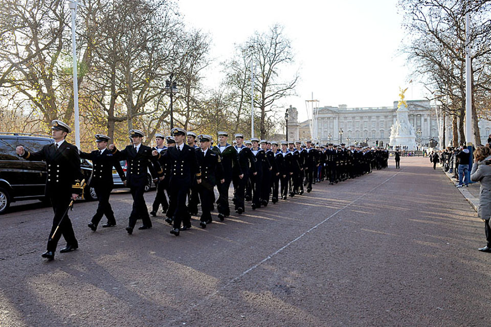 Members of the Commando Helicopter Force march along the Mall in London
