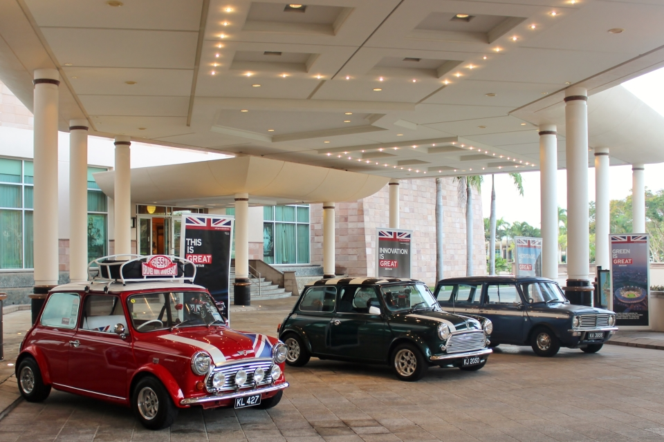 On display outside, at the entrance of the event, were vintage MINI cars from the MINI Classic Owners Brunei.