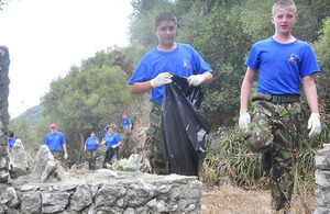 Kent cadets working on a community project during a recent visit to the Rock of Gibraltar