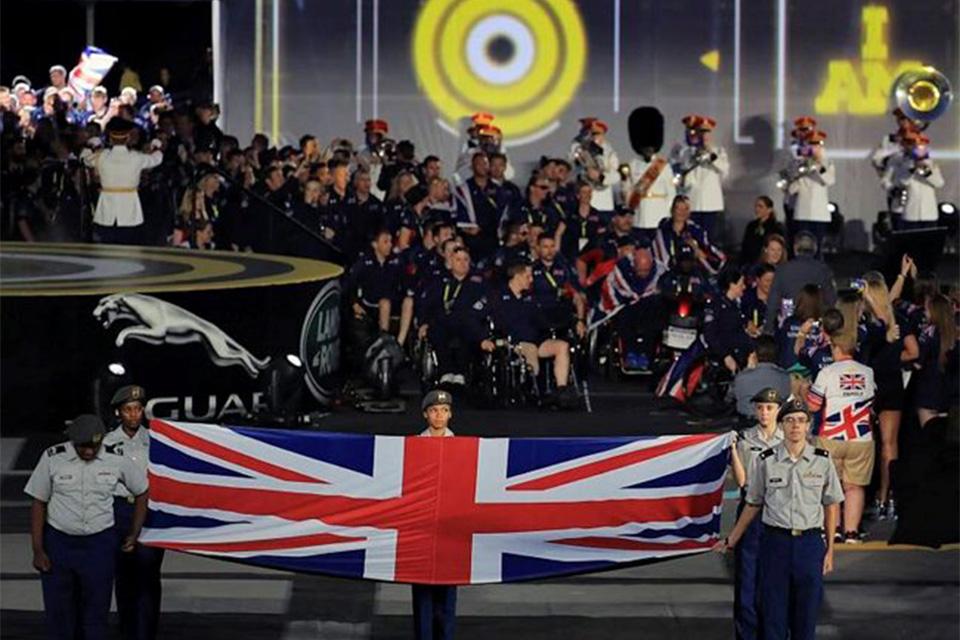 The UK team parade