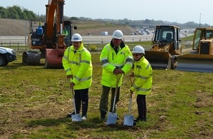 David Bowe (North Yorkshire County Council), Mark Scott (Environment Agency), and Vanessa Gilbert (Highways England) mark the start of the flood alleviation scheme.