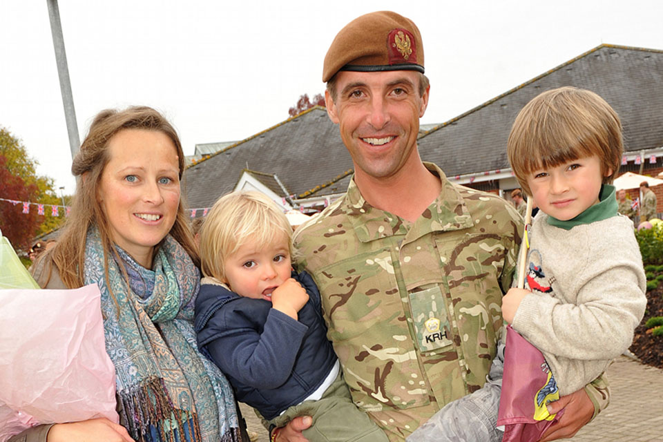 Major Alex Michael with his wife, Lucy, and children Michael, Bertie and Olly