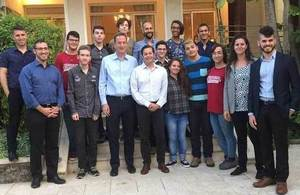British Ambassador David Quarrey and his partner Aldo Henriquez with Israeli Gay Youth (IGY)