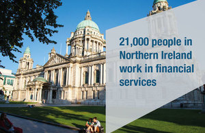 Test: 21,000 people in Northern Ireland work in financial services - in front of a picture of Belfast City Hall