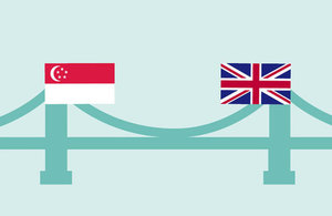 Graphic of a bridge with the Singapore and UK flags