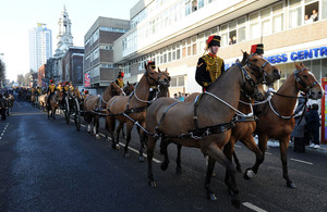 King's Troop Royal Horse Artillery parades through Woolwich town centre for the first time