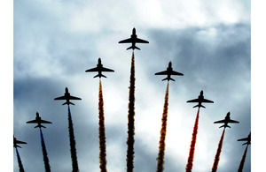The Red Arrows display team in their 'Big Battle' formation (stock image)