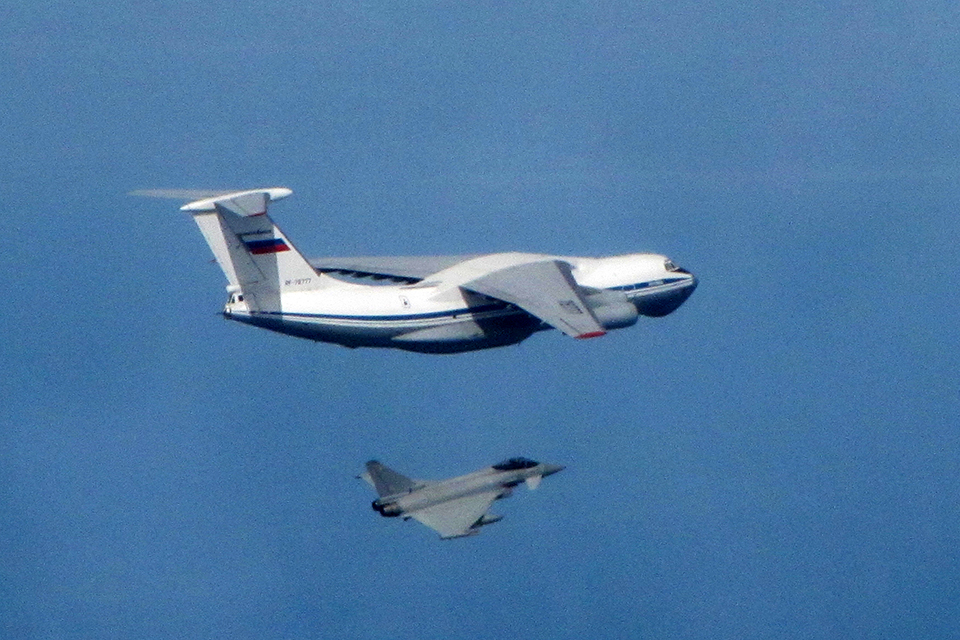 RAF Typhoon and Russian IL-76 Candid. Crown Copyright.