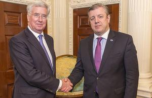 Defence Secretary Michael Fallon and Prime Minister of Georgia His Excellency Mr Giorgi Kvirikashvili. Crown Copyright.