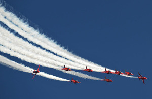 The Royal Air Force Red Arrows Aerobatic Team (stock image)