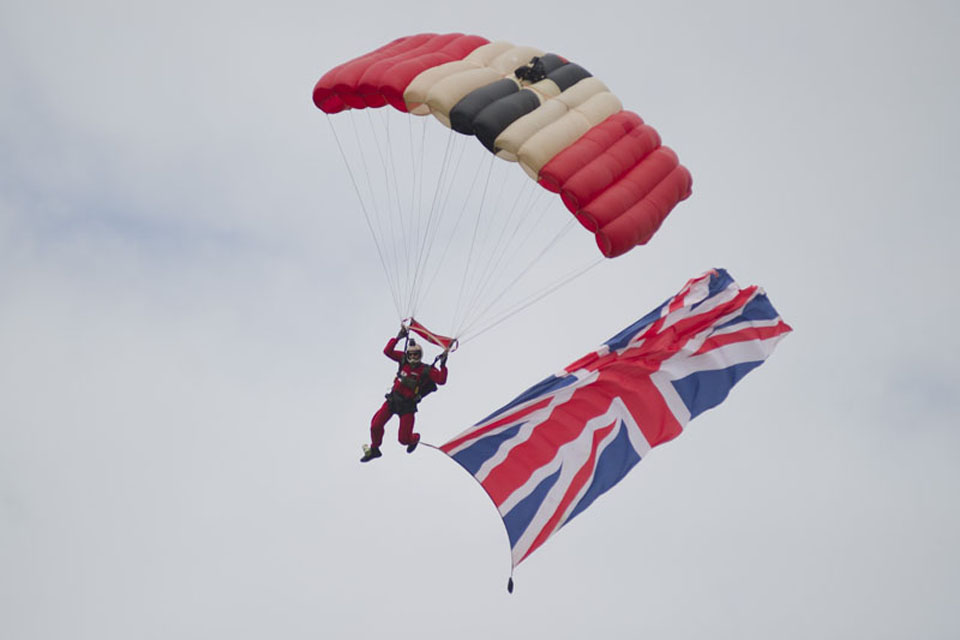 A member of the Red Devils Parachute Regiment display team
