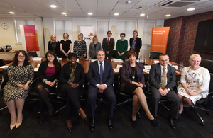 International Development Secretary Justine Greening with top business leaders and gender-specialists at the Birmingham office of business advisory firm PwC. Picture: Jas Sansi