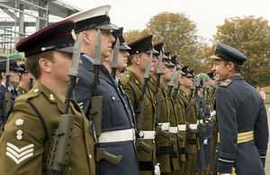 Chief of Defence Intelligence Air Marshal Chris Nickols inspects the Guard of Honour at RAF Wyton