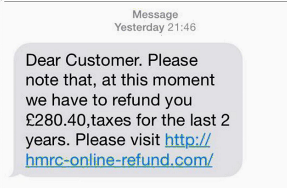 Example of a text message giving details of a refund to trick people into disclosing their personal information.