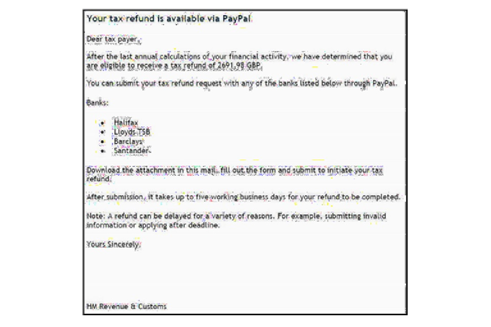 Example of a bogus email advising customers to download an attachment to request a tax refund via PayPal.