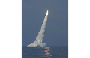 HMS Vanguard launches a Trident II D5 missile during a demonstration and shakedown operation in 2005 (stock image)