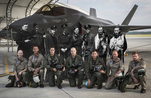 A composite image showing today's 617 Squadron Dambusters with their World War 2 predecessors against an F-35B Lightning at United States Marine Corps Air Station Beaufort, South Carolina.