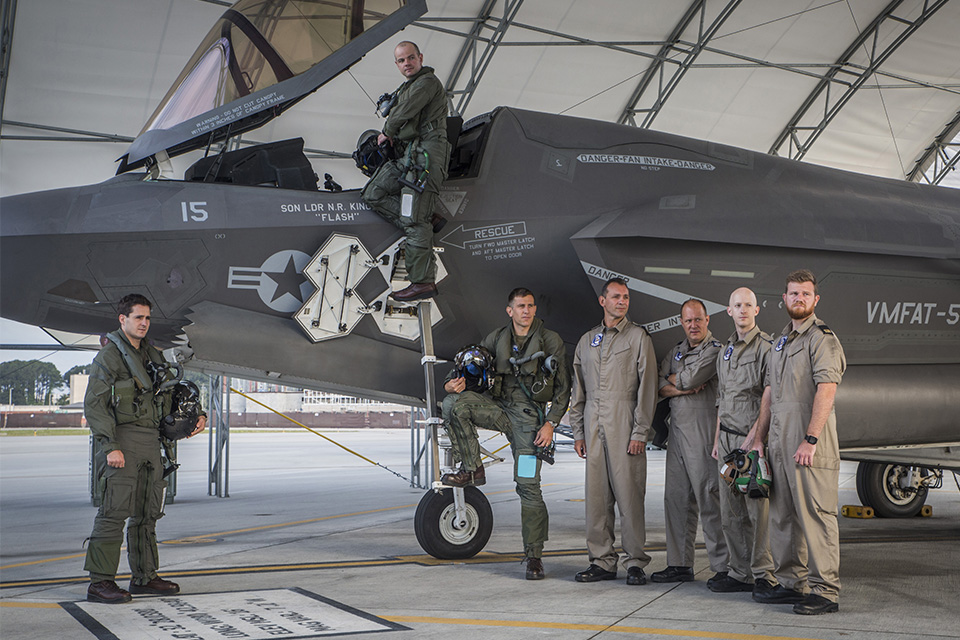 Today's 617 Squadron Dambusters with an F-35B Lightning at United States Marine Corps Air Station Beaufort, South Carolina.