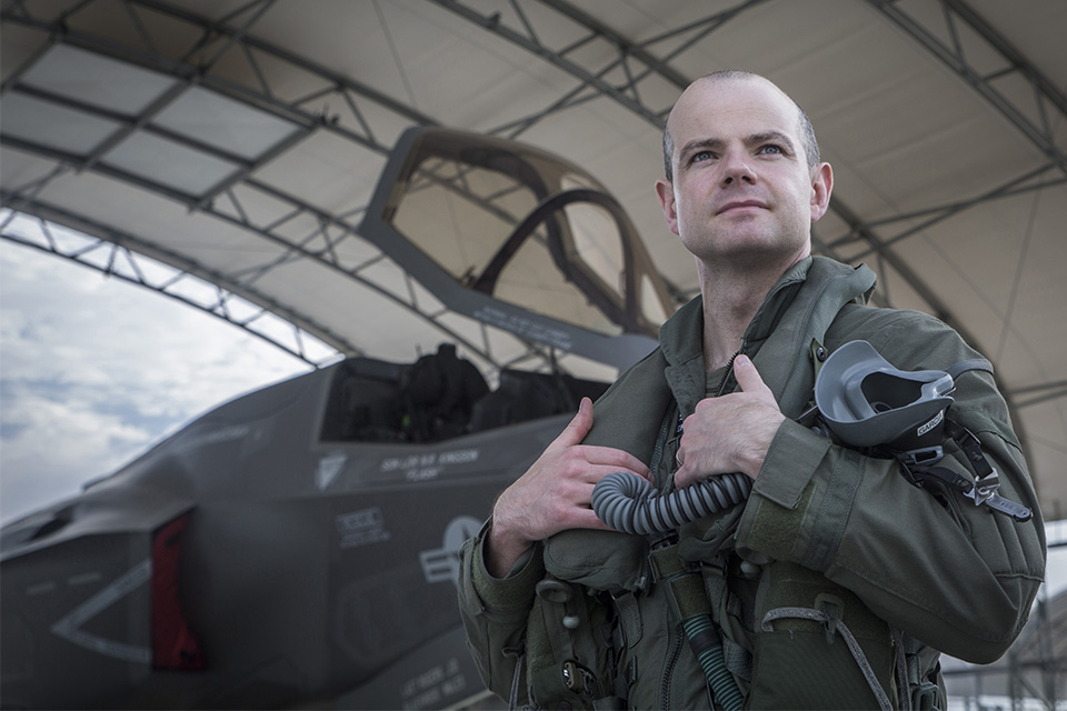 The 2016 Officer Commanding 617 Squadron, Wing Commander John Butcher, with an F-35B Lightning at United States Marine Corps Air Station Beaufort, South Carolina.