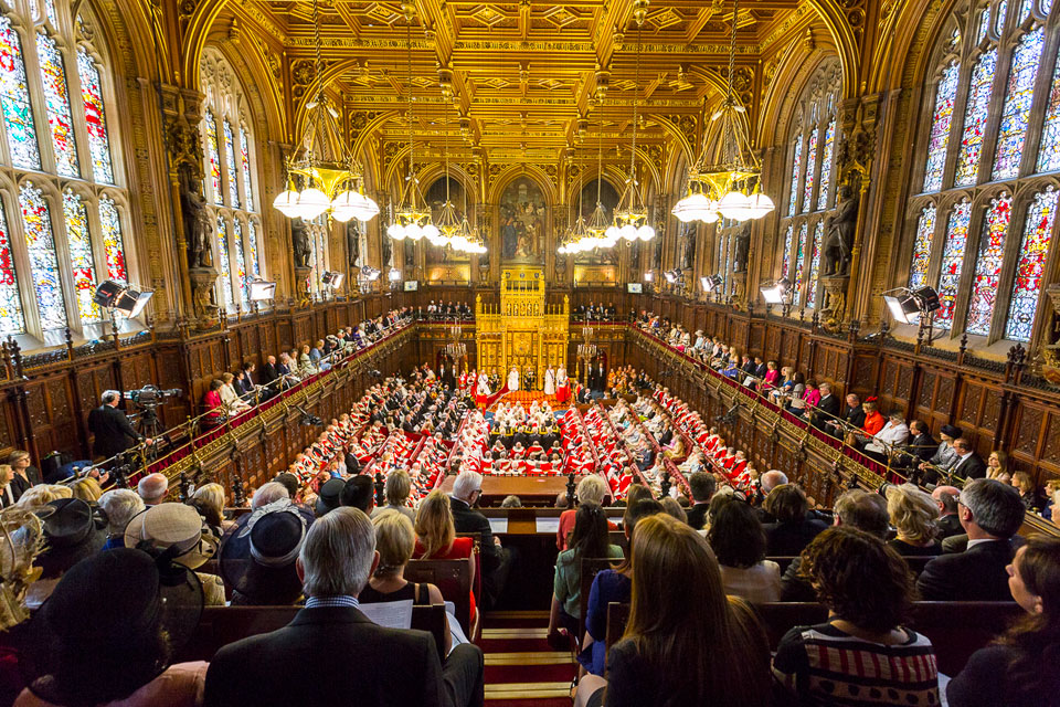 The Lords chamber is packed with guests, including judges, ambassadors and high commissioners, and members of the House of Lords