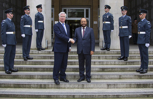 Defence Secretary Michael Fallon and Omani Minister Responsible for Defence Affairs, His Excellency Sayyid Badr bin Saud bin Harub Al Busaidi. Crown Copyright.
