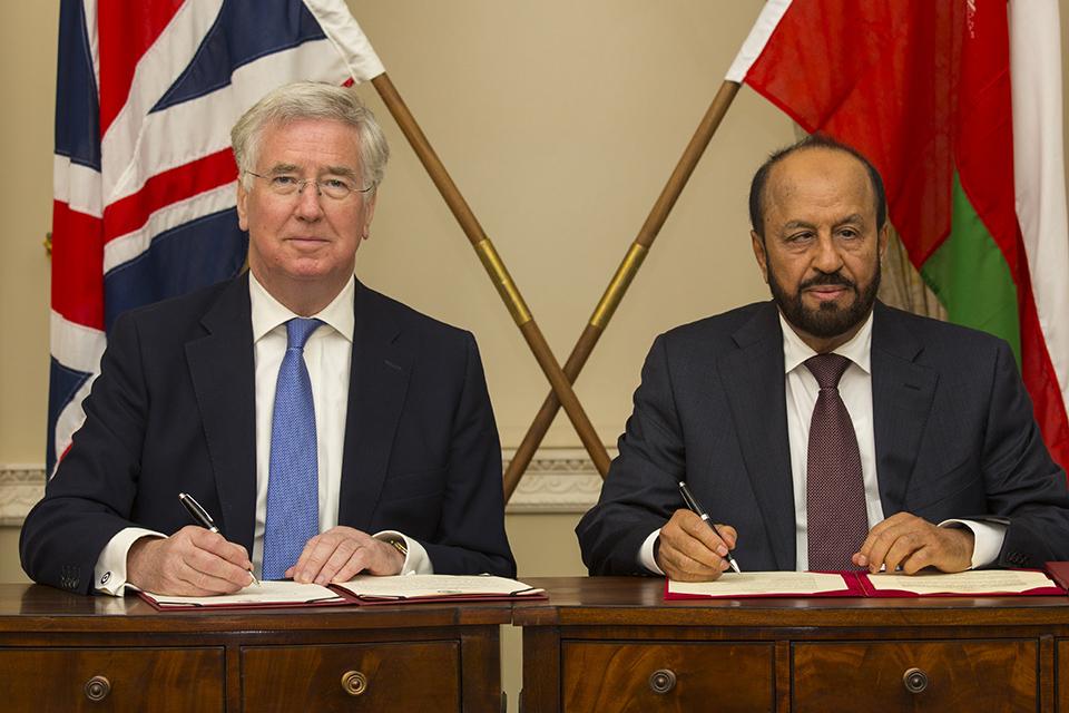 Defence Secretary Michael Fallon and Omani Minister Responsible for Defence Affairs, His Excellency Sayyid Badr bin Saud bin Harub Al Busaidi. Crown Copyright.