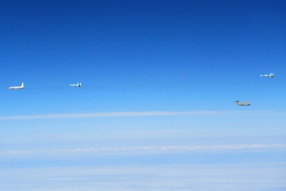 Royal Air Force Typhoons have intercepted Russian military aircraft in international airspace near Estonia. Crown Copyright.