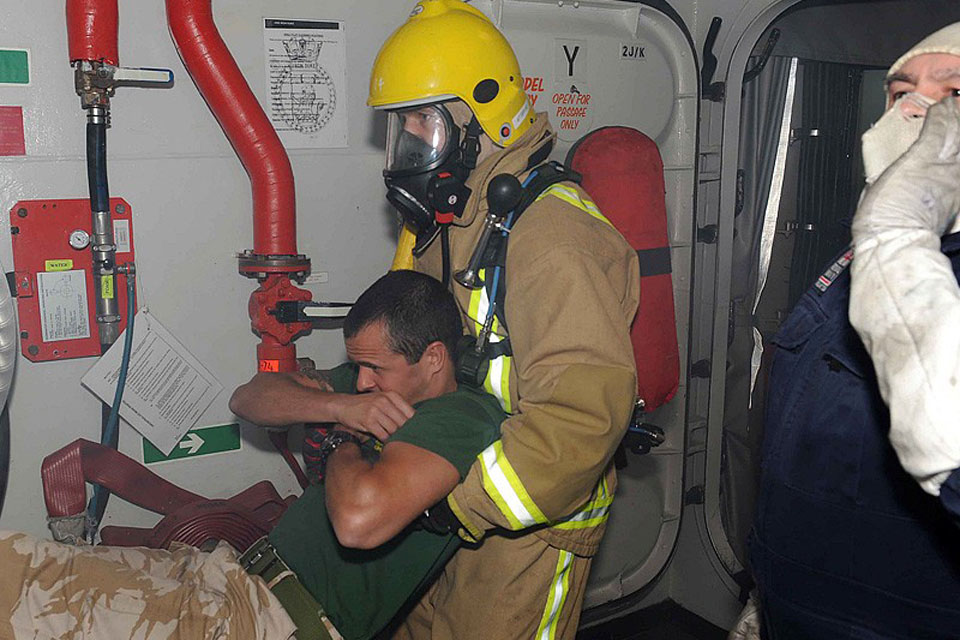 Damage control exercise on board HMS Iron Duke