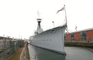 HMS Caroline at Alexandra Dock in Belfast