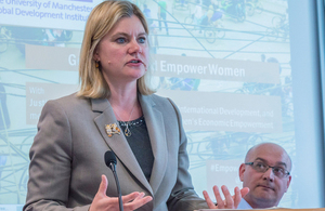 Justine Greening speaking during Manchester visit. Picture: University of Manchester