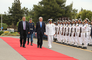 Defence Secretary Michael Fallon arriving with Greek Defence Minister Panos Kammenos. Greek MOD Copyright.