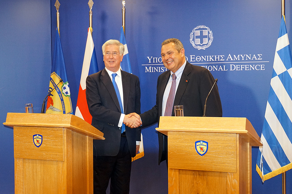 Defence Secretary Michael Fallon with Greek Defence Minister Panos Kammenos. Greek MOD Copyright.