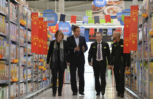 Prime Minister in Asda, Hayes with Harriet Harman and Asda staff.