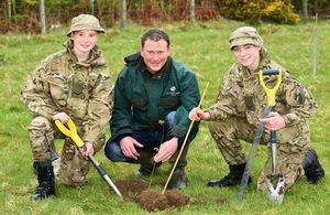 Cadet Lance Corporals Ethan Boyd and Nathanel Richmond with Gregor Fulton of the Woodland Trust. [Photo: Reserve Forces and Cadets Association Northern Ireland. All rights reserved]